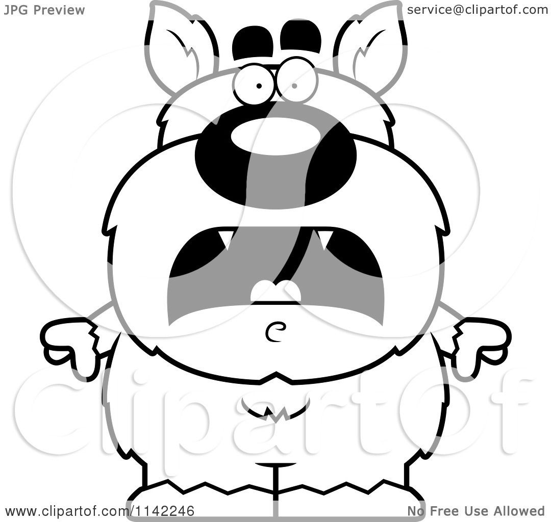 cartoon clipart of a black and white scared pudgy werewolf