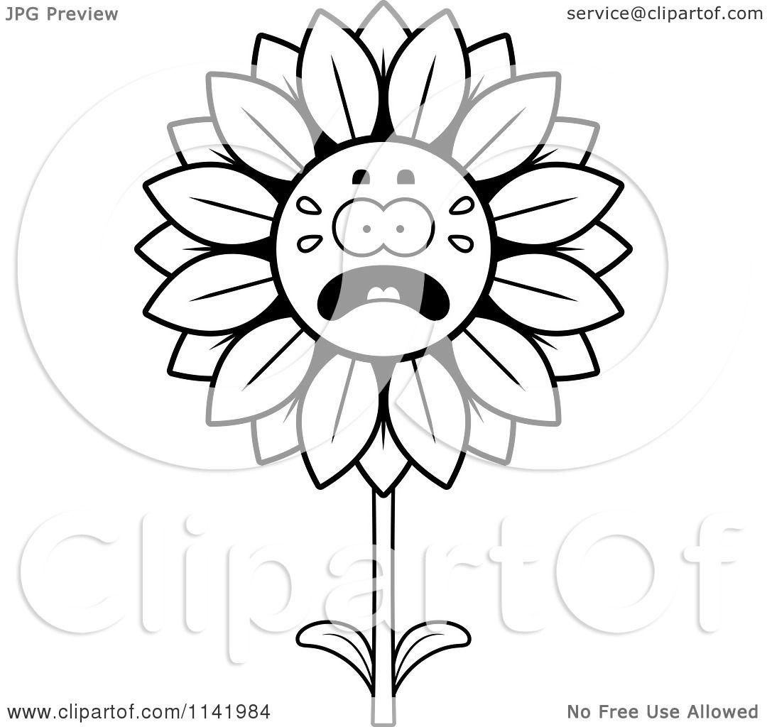 Cartoon Clipart Of A Black And White Scared Sunflower Character ... for Clipart Sunflower Black And White  75tgx