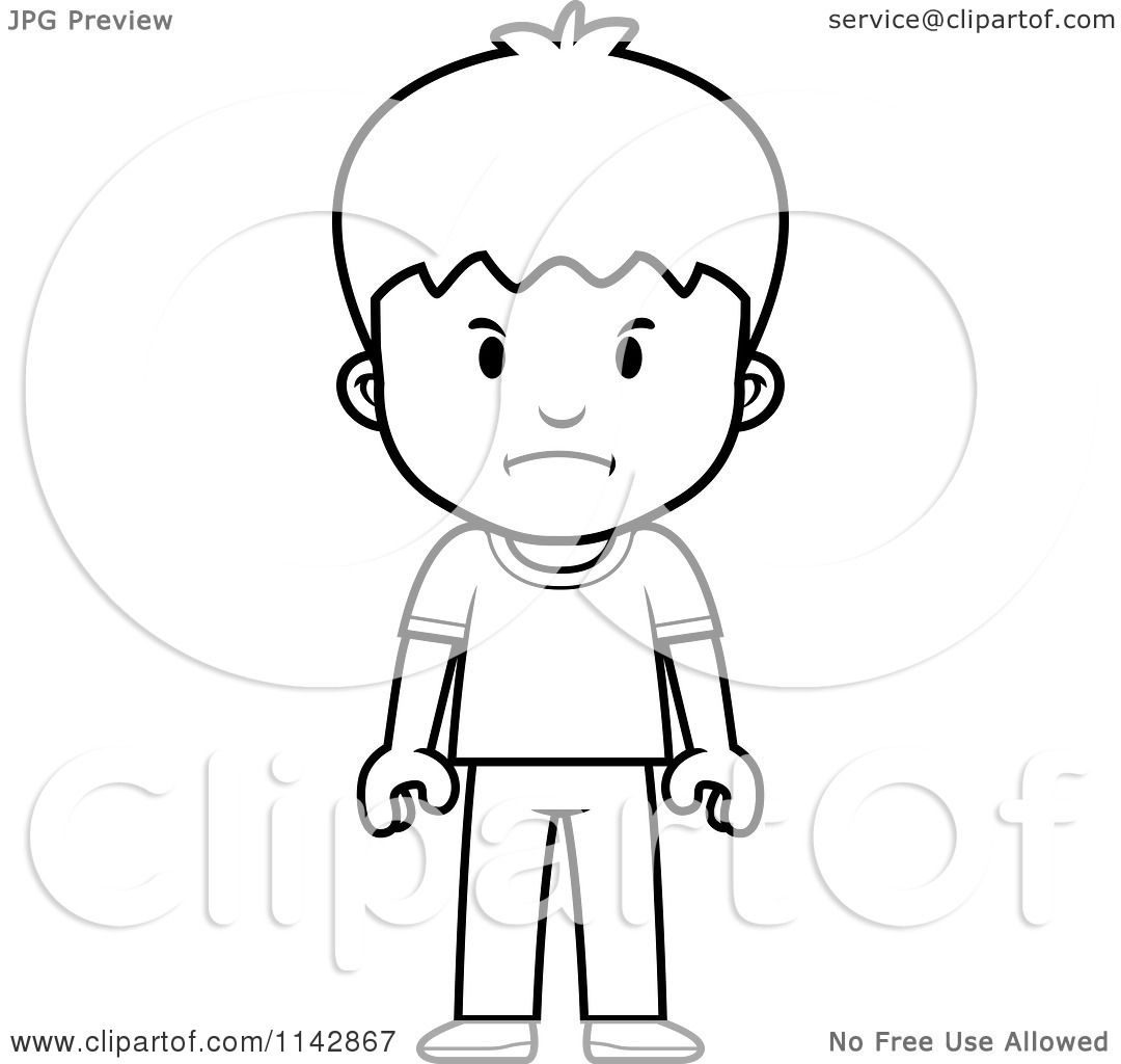 Cartoon Clipart Of A Black And White School Boy With Mad Expression