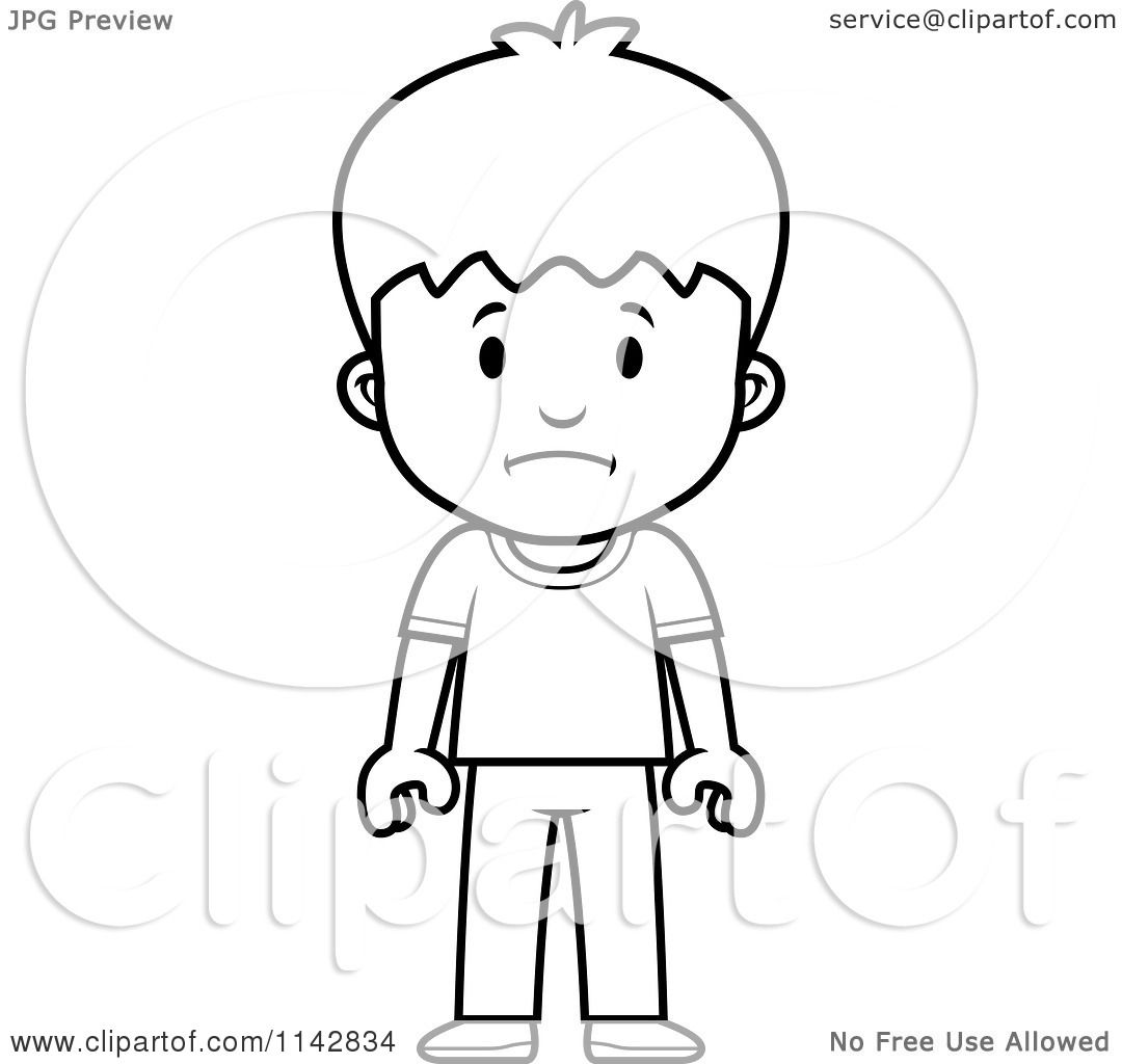 Cartoon Clipart Of A Black And White School Boy With Sad Expression