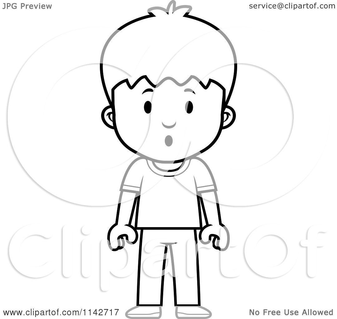 Cartoon Clipart Of A Black And White School Boy With Scared Expression
