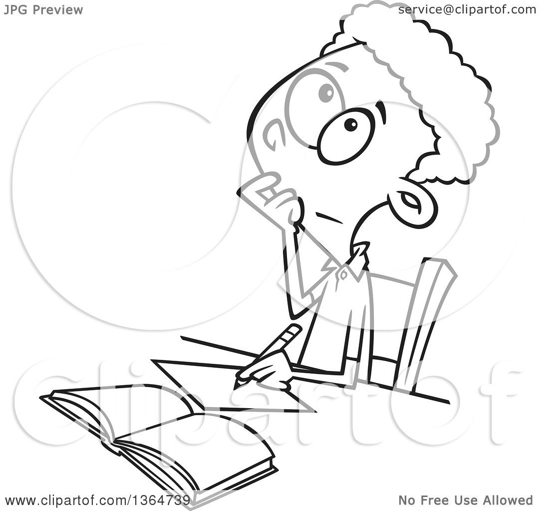 Cartoon Clipart of a Black and White School Boy Writing and Thinking ...