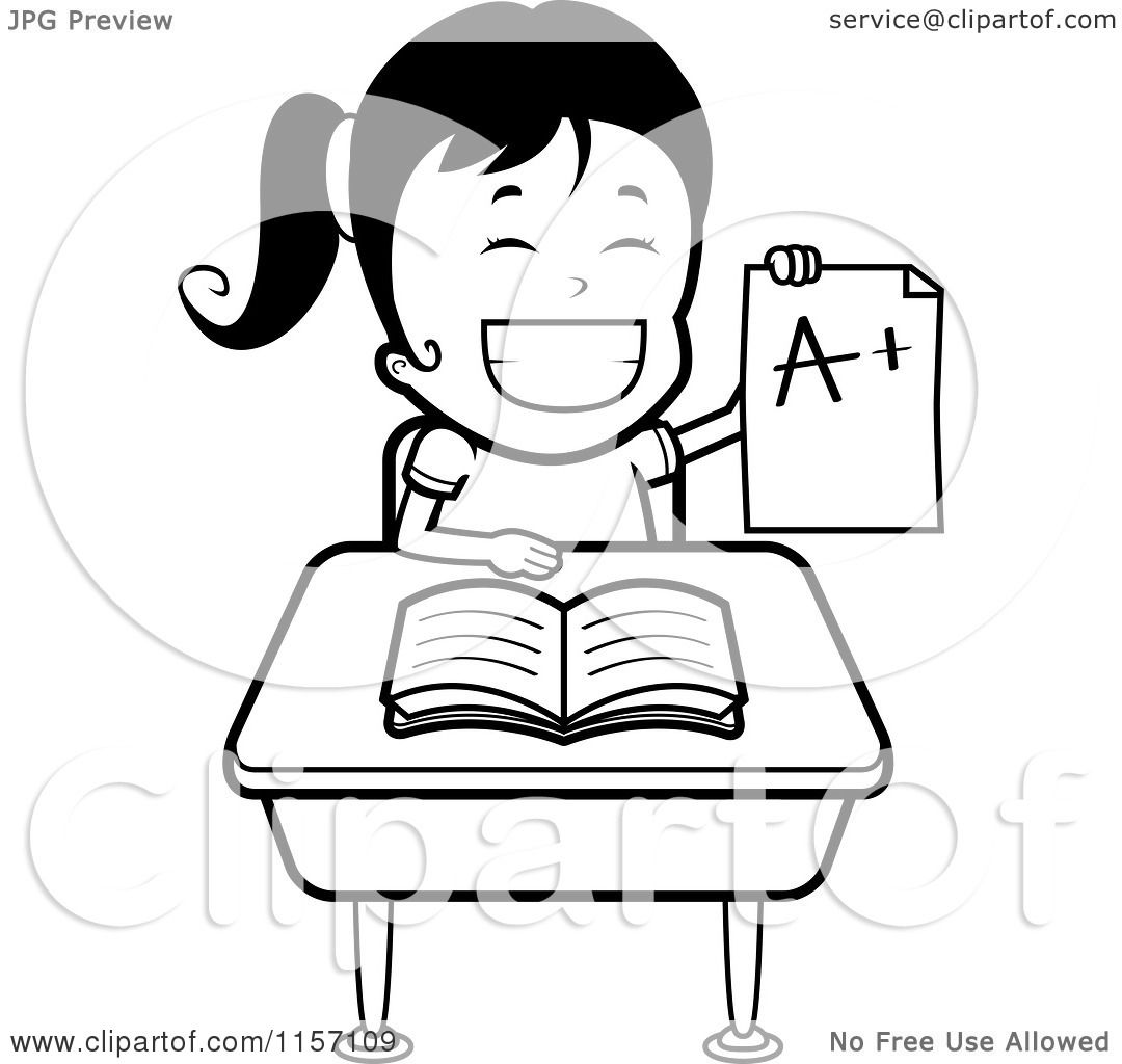 cartoon clipart of a black and white school girl holding up an a