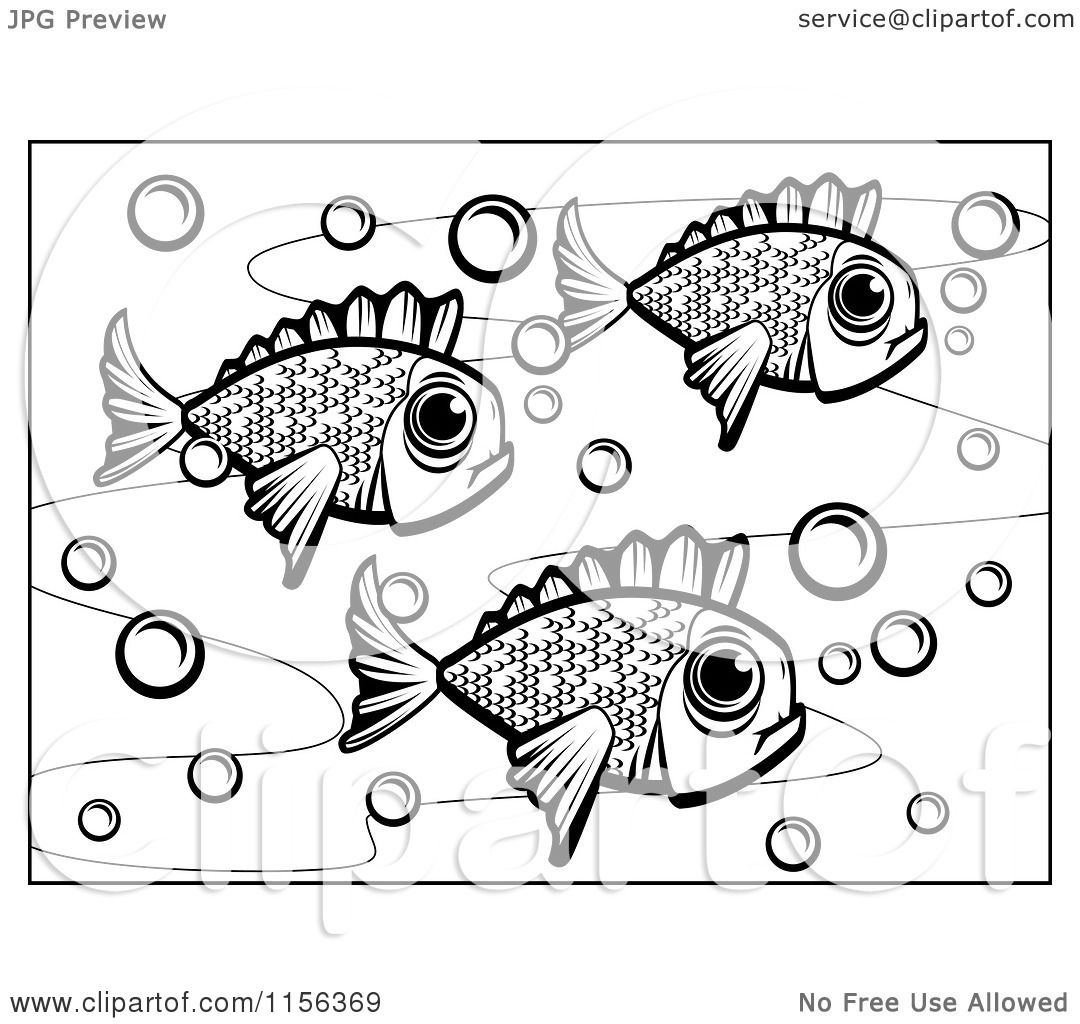 cartoon clipart of a black and white of fish vector