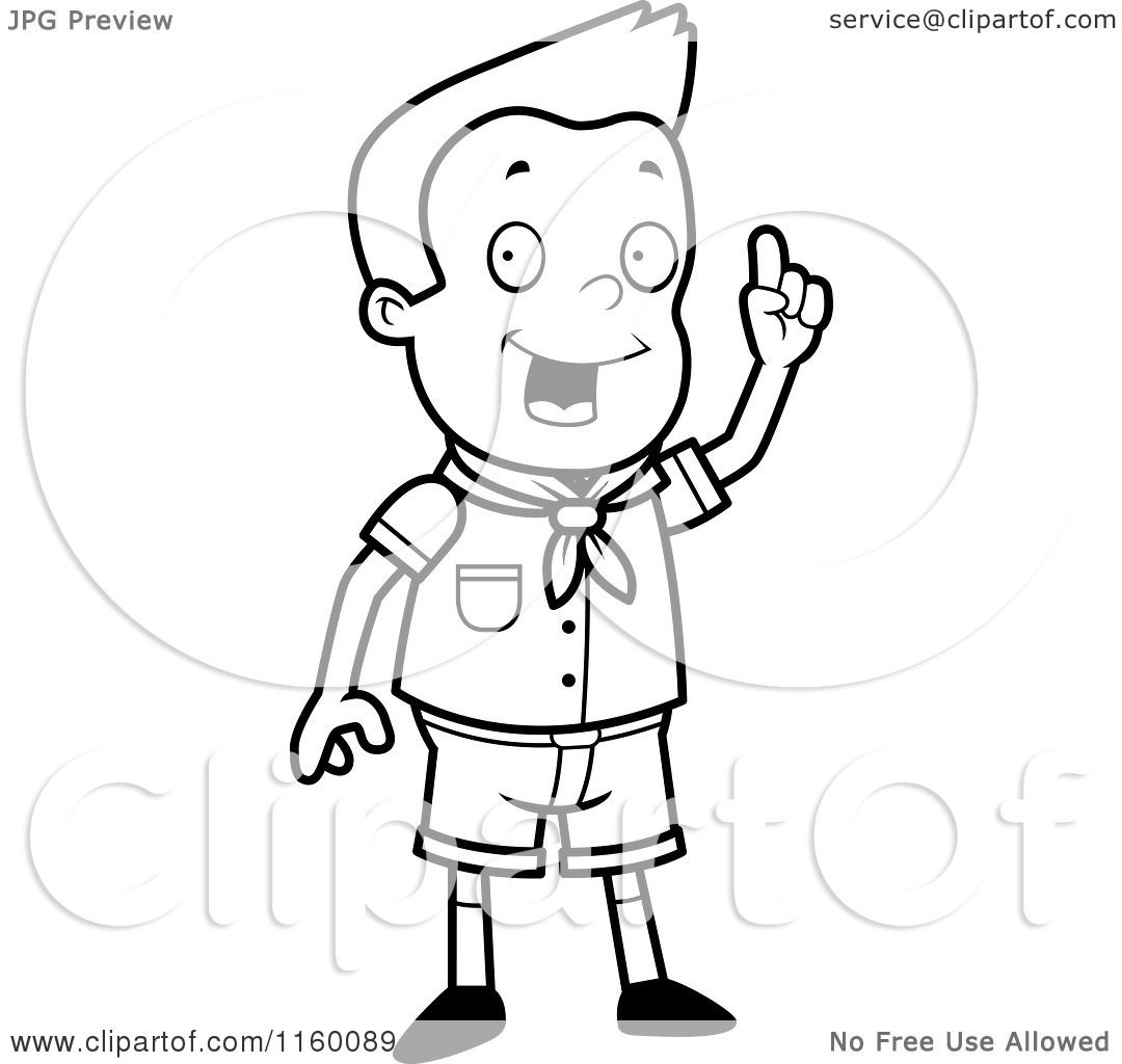 Cartoon Clipart Of A Black And White Scout Boy Standing Holding Up Finger