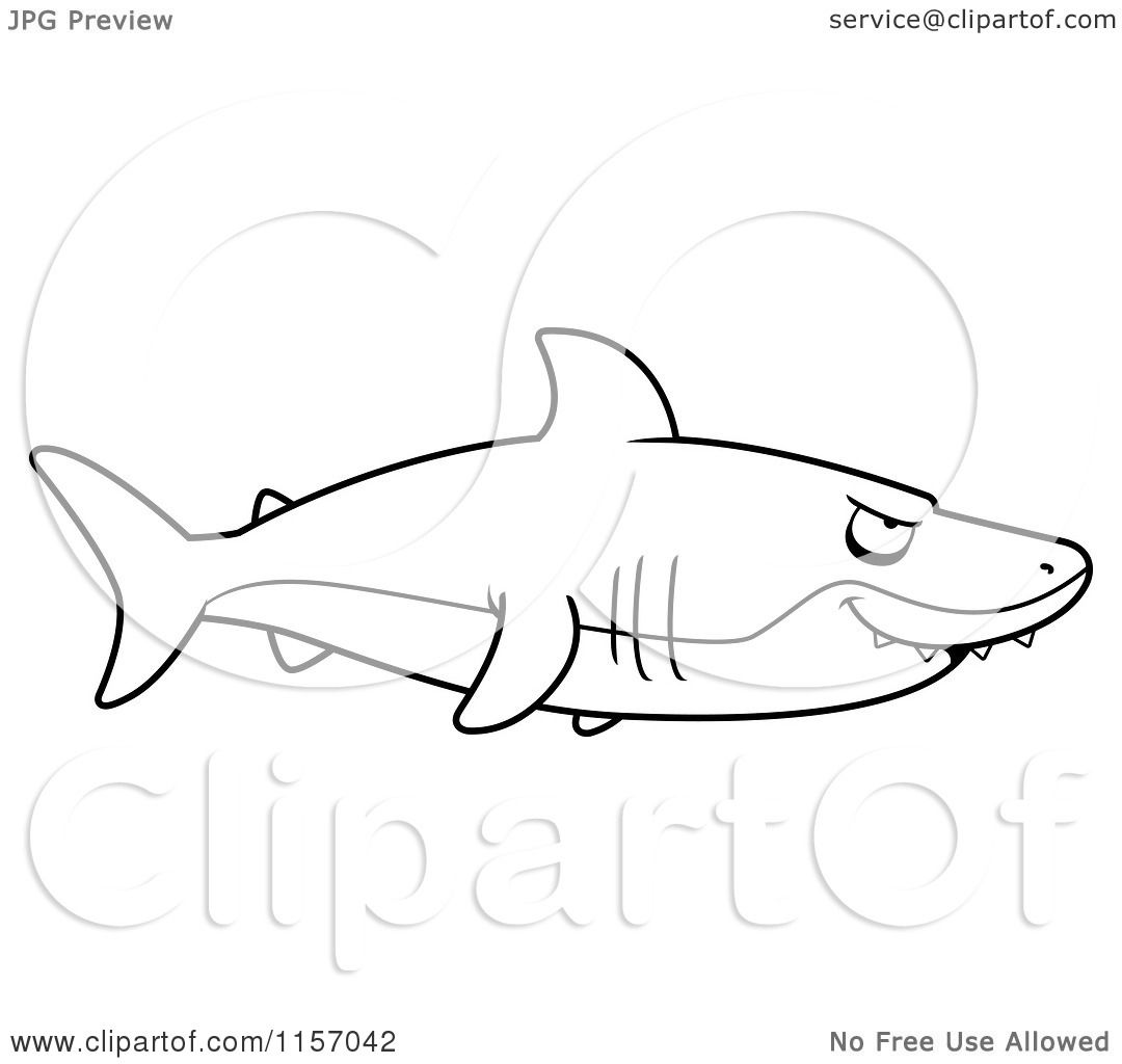 cartoon clipart of a black and white shark in profile vector