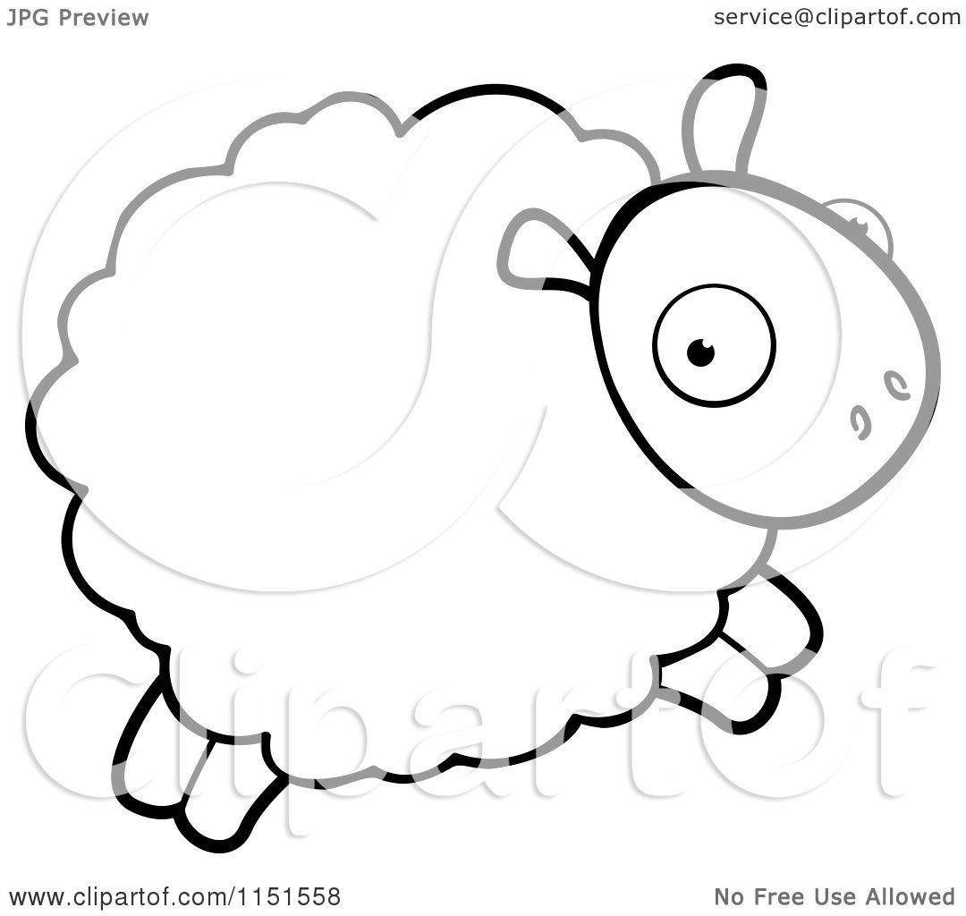 Cartoon Clipart Of A Black And White Sheep Leaping ...