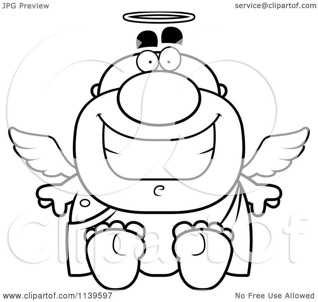 cartoon angel coloring pages | Cartoon Clipart Of A Black And White Sitting Angel Man ...