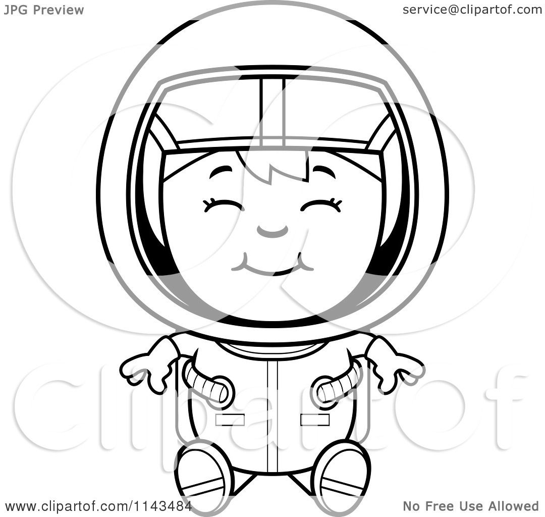 cartoon clipart of a black and white sitting astronaut