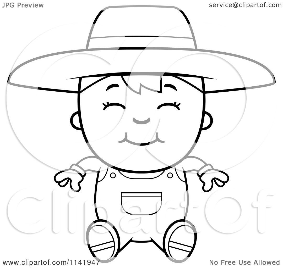 coloring pages of hillbillies cartoons | Cartoon Clipart Of A Black And White Sitting Farmer Boy ...