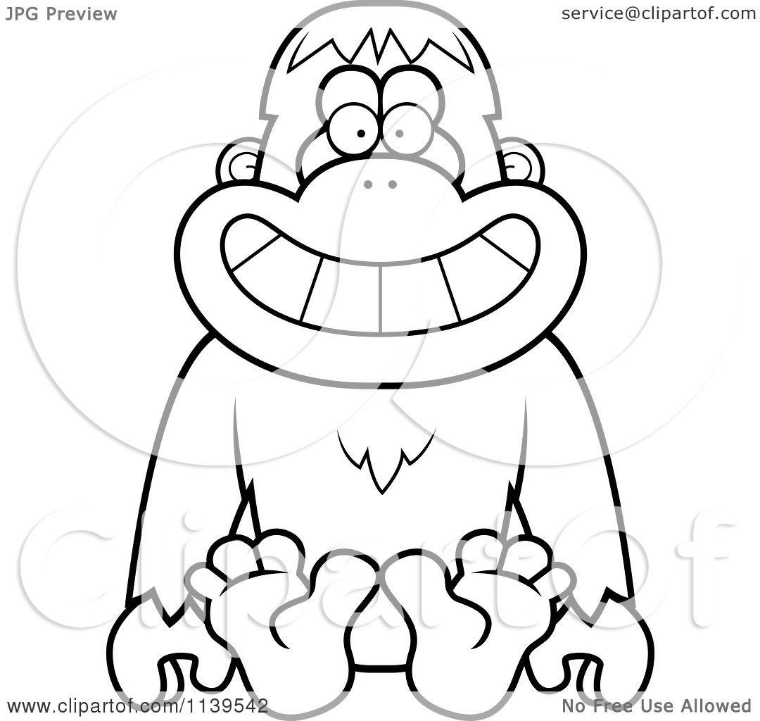 cartoon clipart of a black and white sitting orangutan monkey