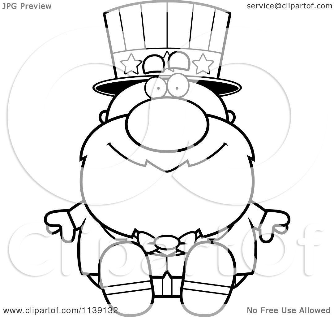 Cartoon Clipart Of A Black And White Sitting Uncle Sam