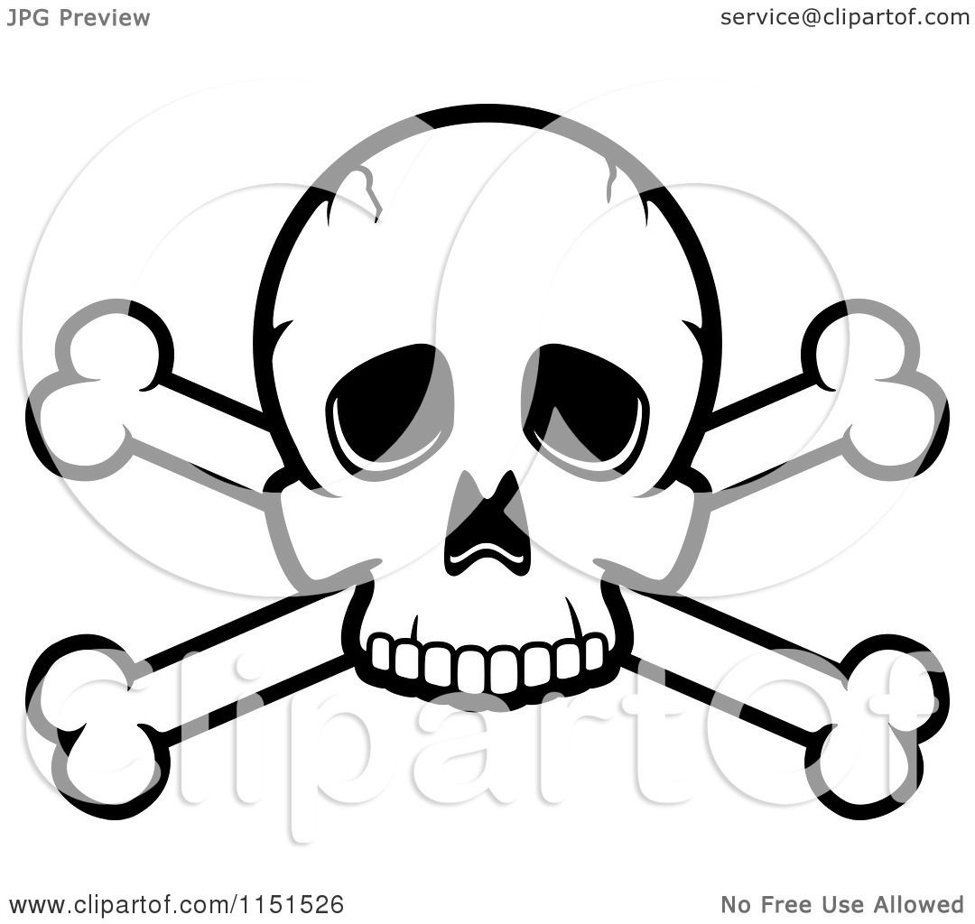 cartoon clipart of a black and white skull and crossed bones