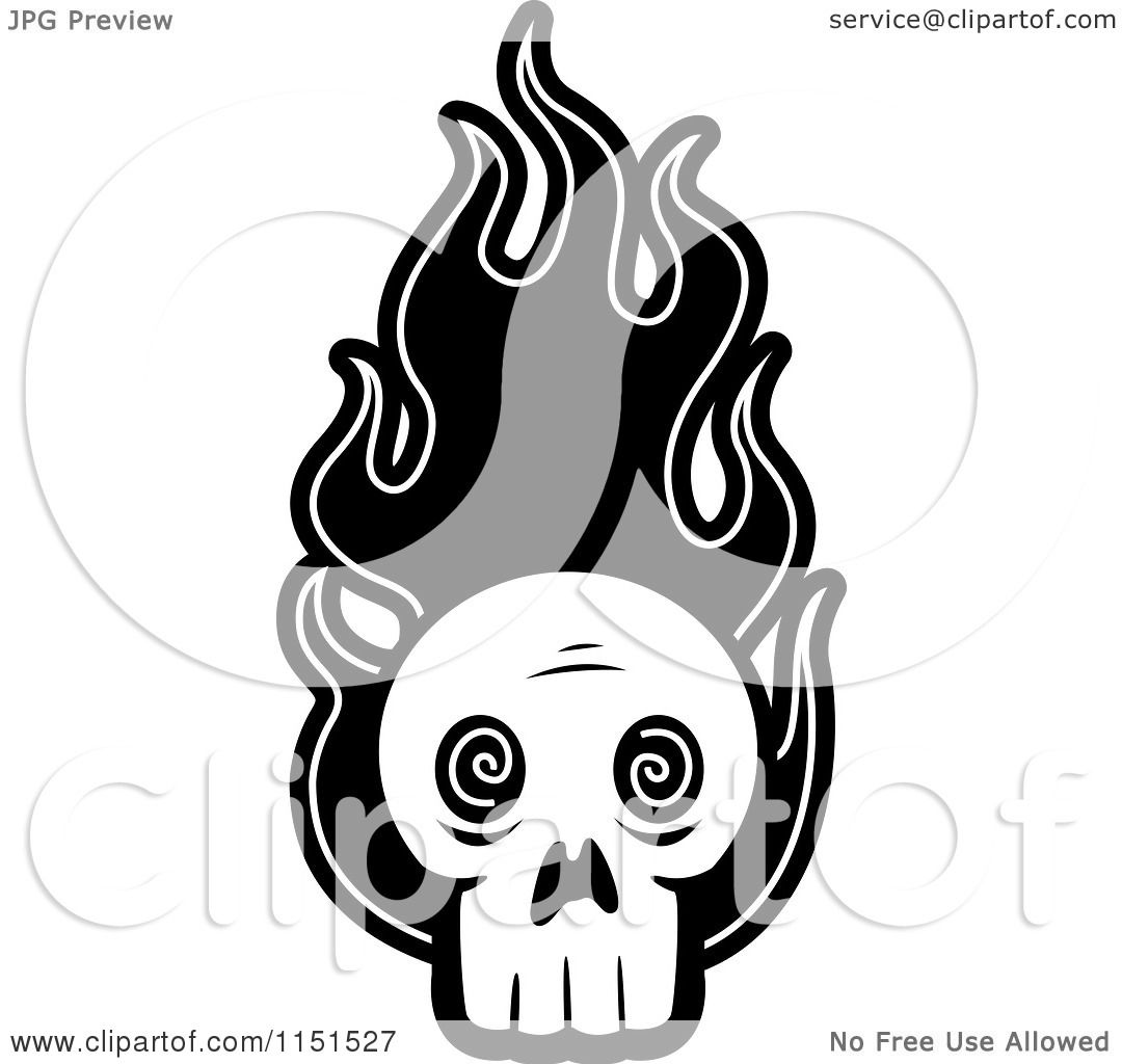 coloring pages skulls flames - cartoon clipart of a black and white skull with flames