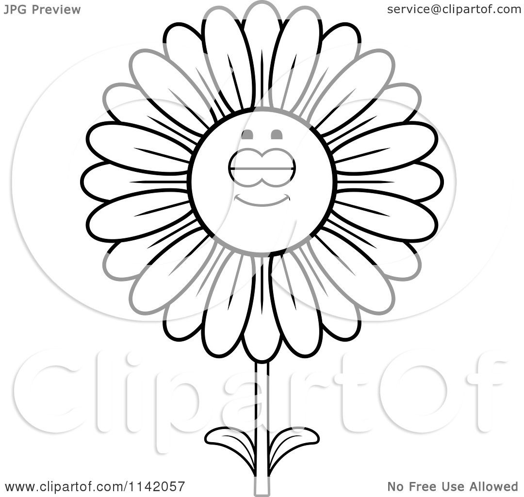 Daisy scout petal coloring pages - Daisy Coloring Page Cartoon Clipart Of A Black And White Sleeping Daisy Flower Character Vector