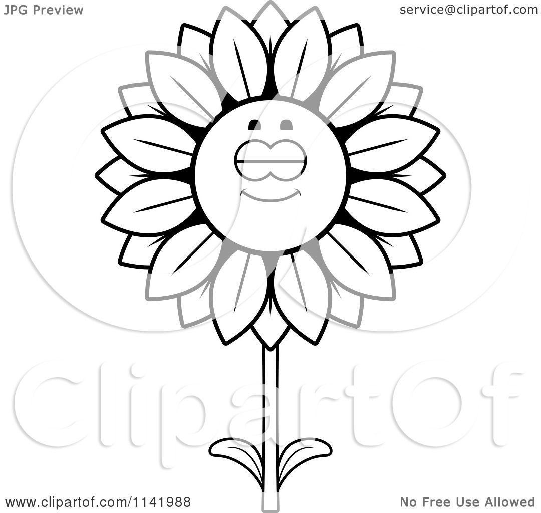 Cartoon Clipart Of A Black And White Sleeping Sunflower Character ... for Clipart Sunflower Black And White  174mzq