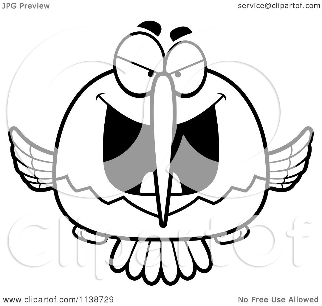 cartoon clipart of a black and white depressed sad hummingbird