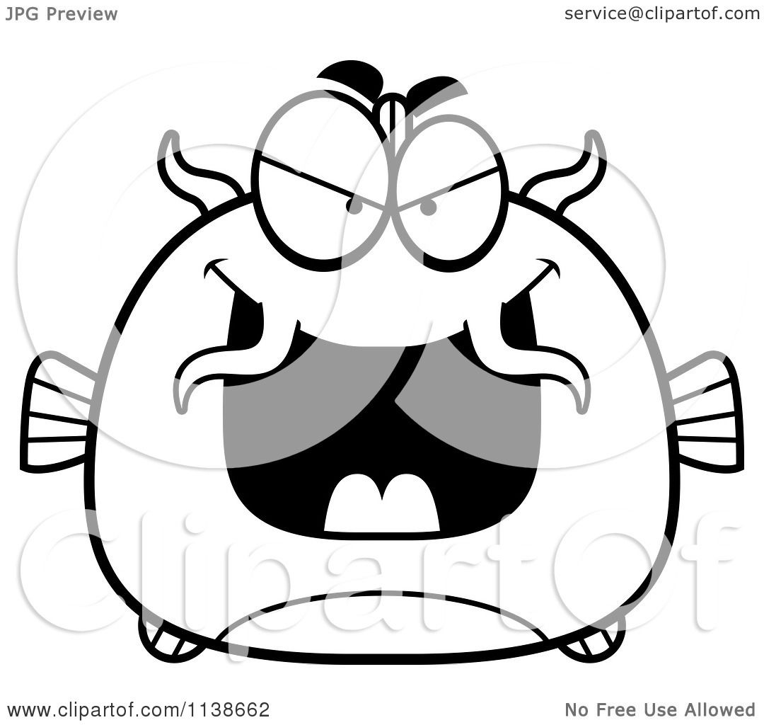 Cartoon Clipart Of A Black And White Sly Catfish Vector Outlined