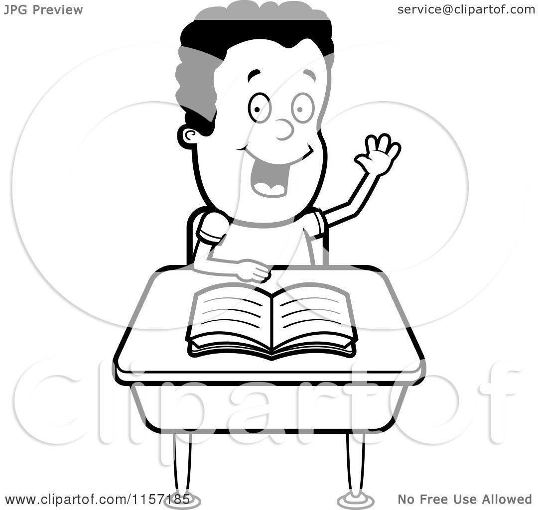 cartoon clipart of a black and white smart boy sitting at a desk