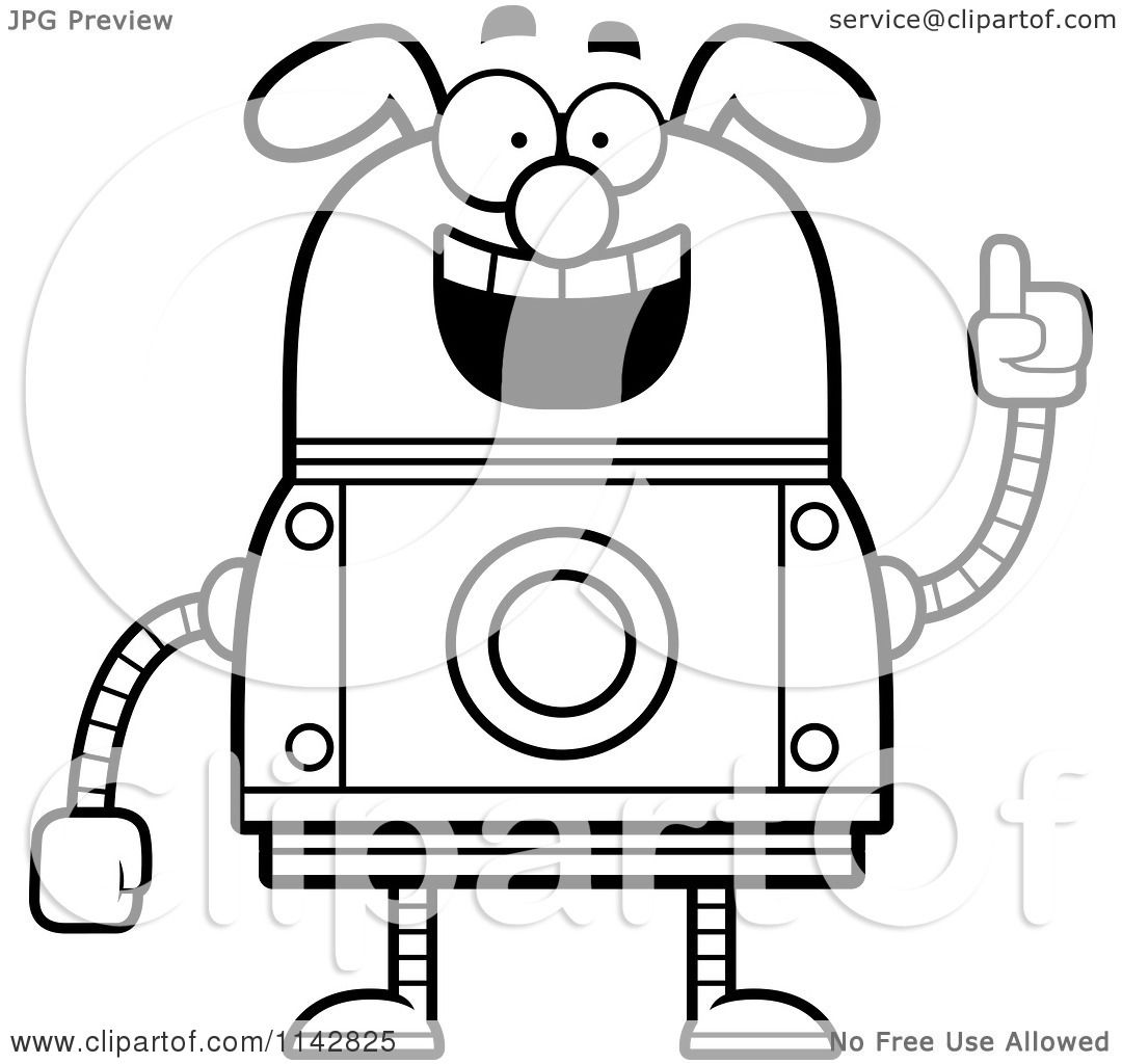 Cartoon Clipart Of A Black And White Smart Dog Robot