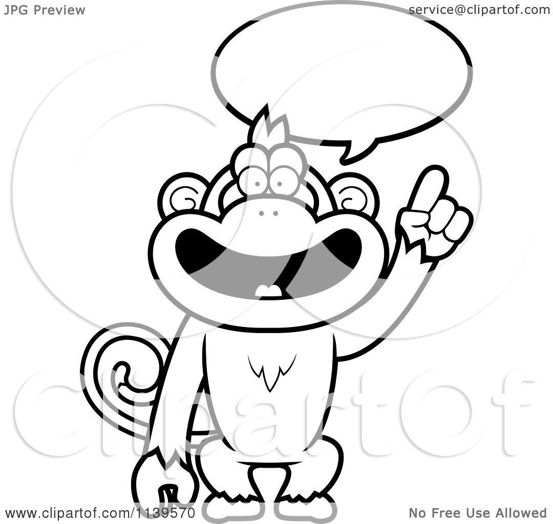 Black and white monkey clip art