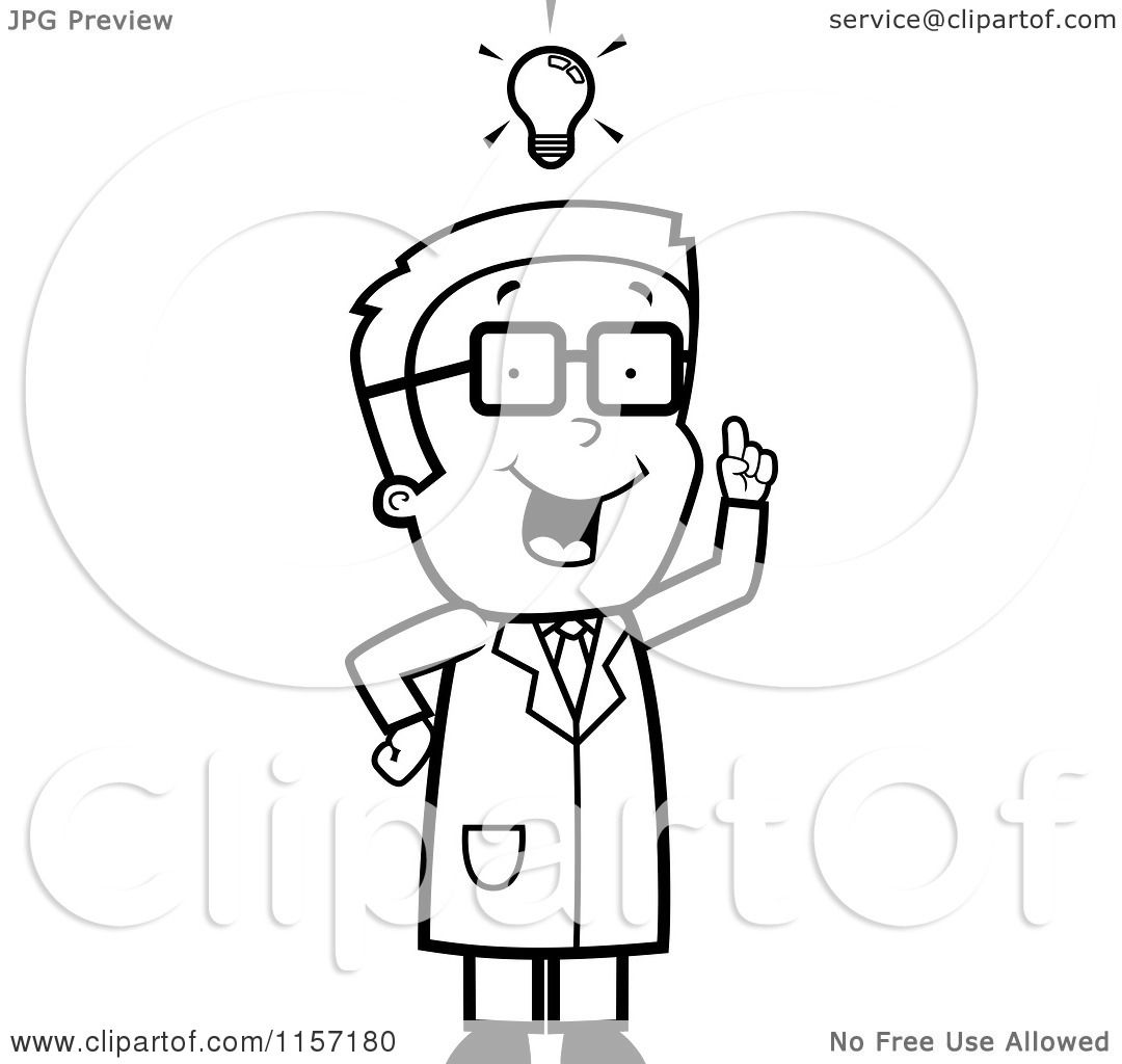 cartoon clipart of a black and white smart scientist boy vector