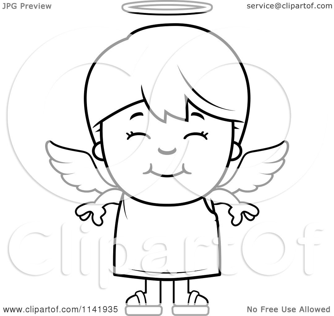 Cartoon Clipart Of A Black And White Smiling Angel Boy - Vector ...