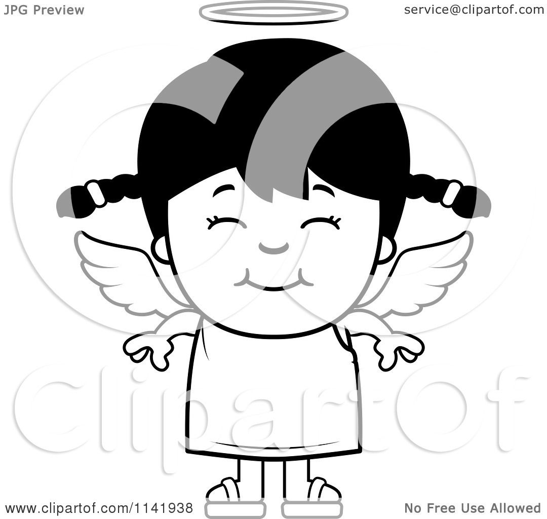 Cartoon Clipart Of A Black And White Smiling Angel Girl - Vector ...