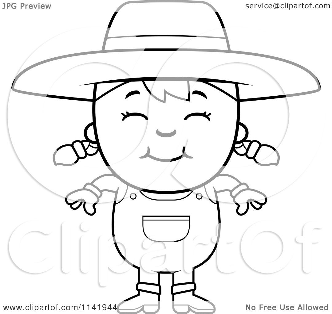 Cartoon Clipart Of A Black And White Smiling Farmer Girl ...