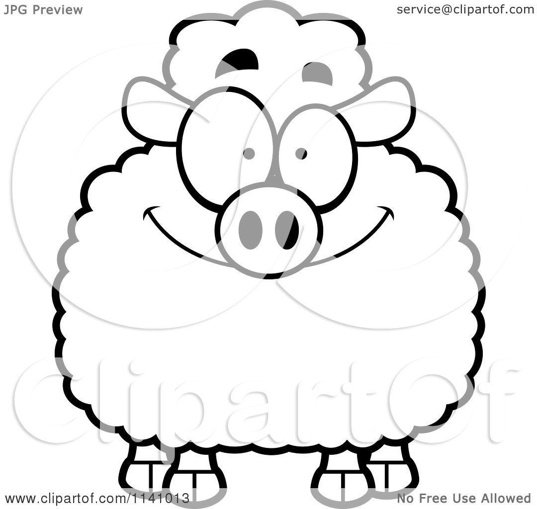 cartoon clipart of a black and white smiling happy sheep vector