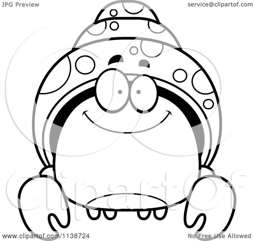 cartoon clipart of a black and white smiling hermit crab vector