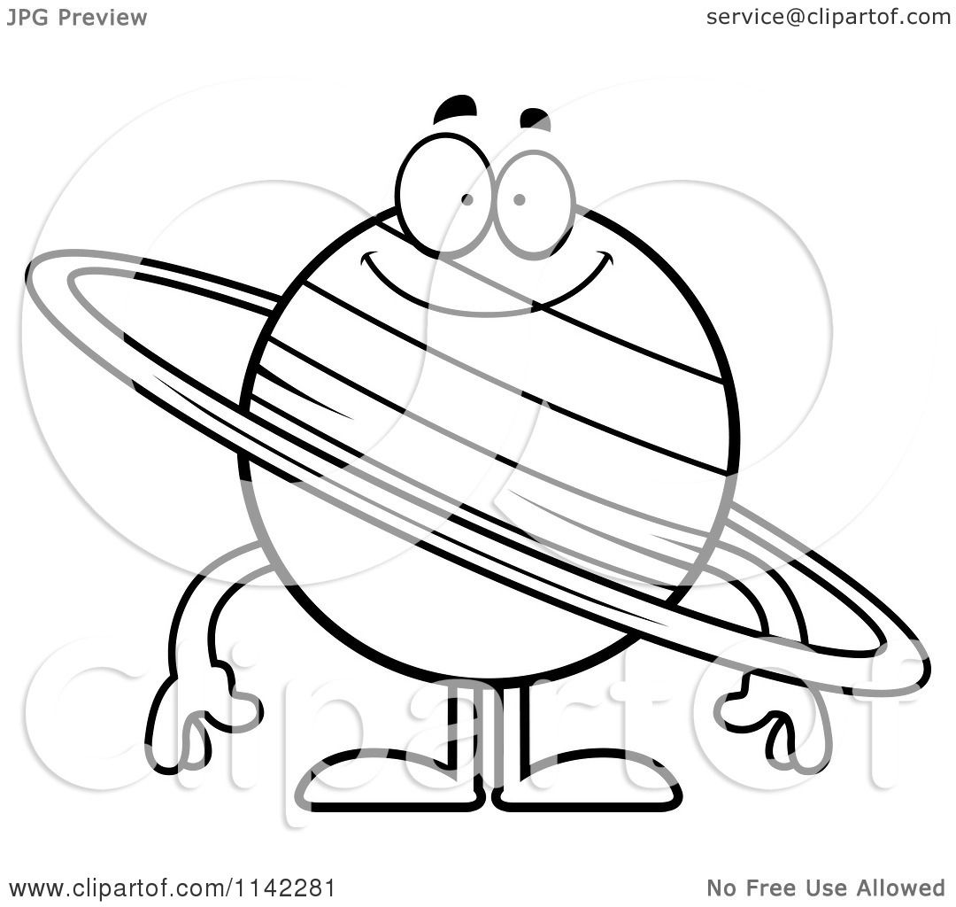 Cartoon Clipart Of A Black And White Smiling Planet Saturn Saturn Coloring Page