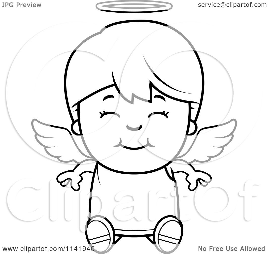 cartoon angel coloring pages | Cartoon Clipart Of A Black And White Smiling Sitting Angel ...