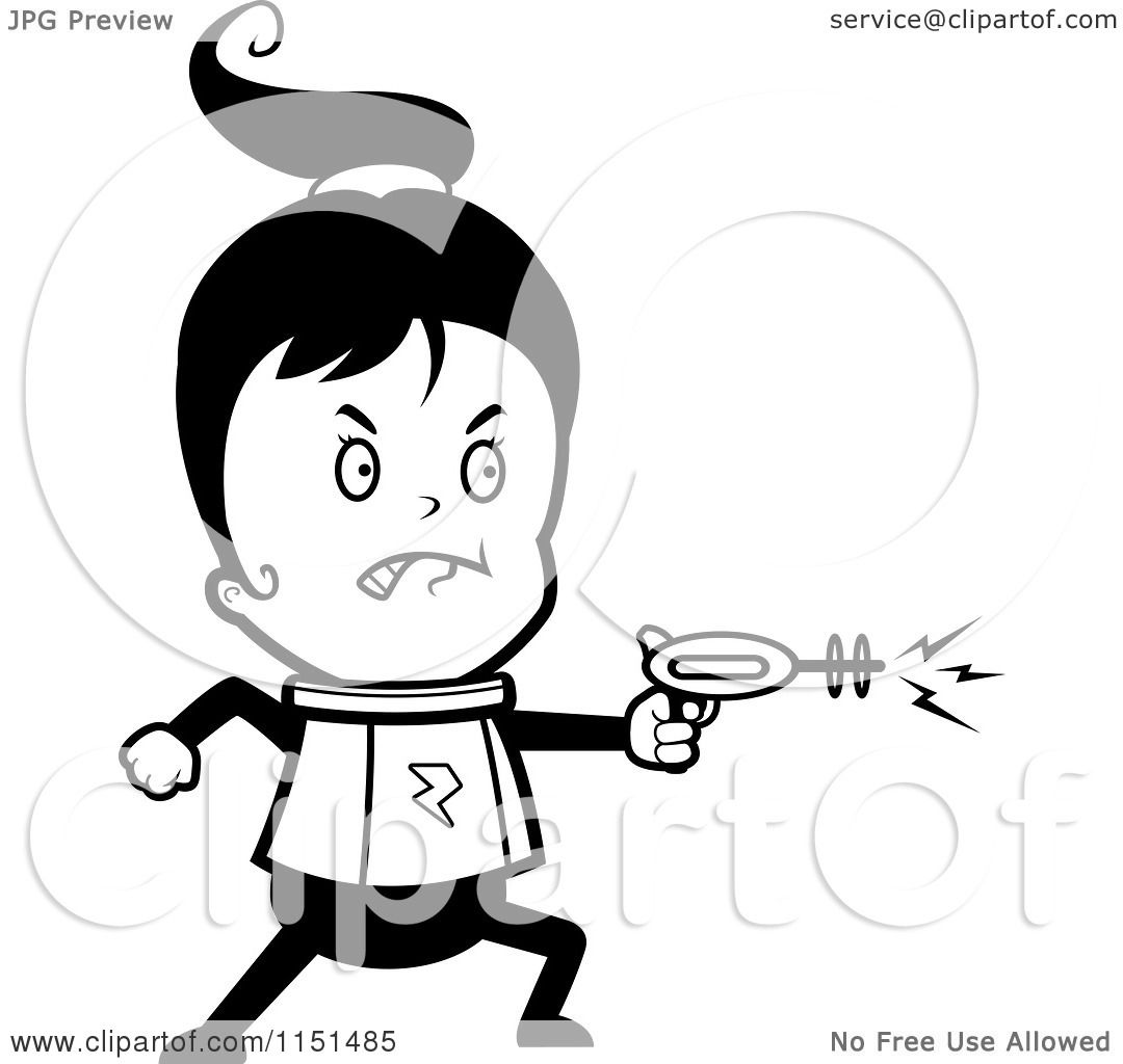 Cartoon-Clipart-Of-A-Black-And-White-Spa