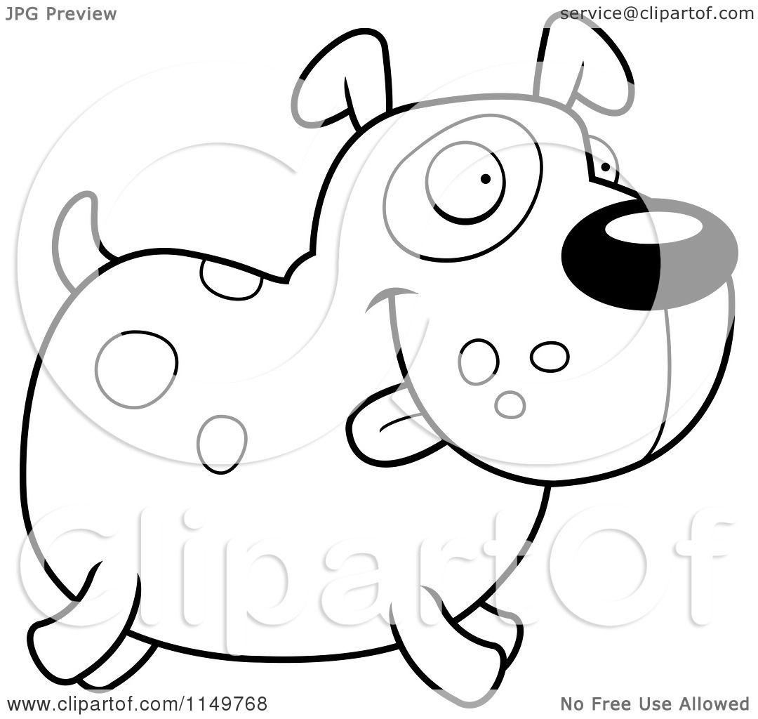 Cartoon Clipart Of A Black And White Spotted Dog Running ...