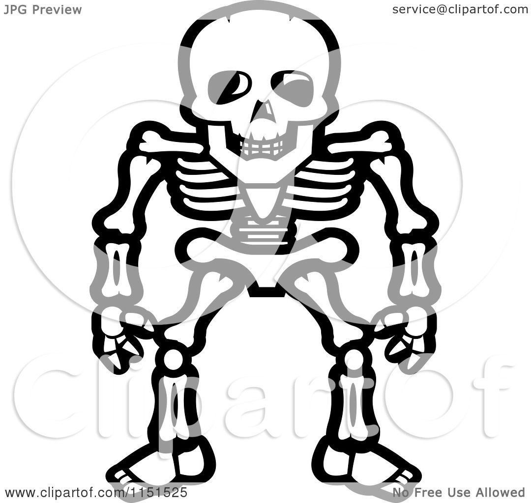 White Standing Skeleton Vector Outlined Coloring Page By Cory Thoman