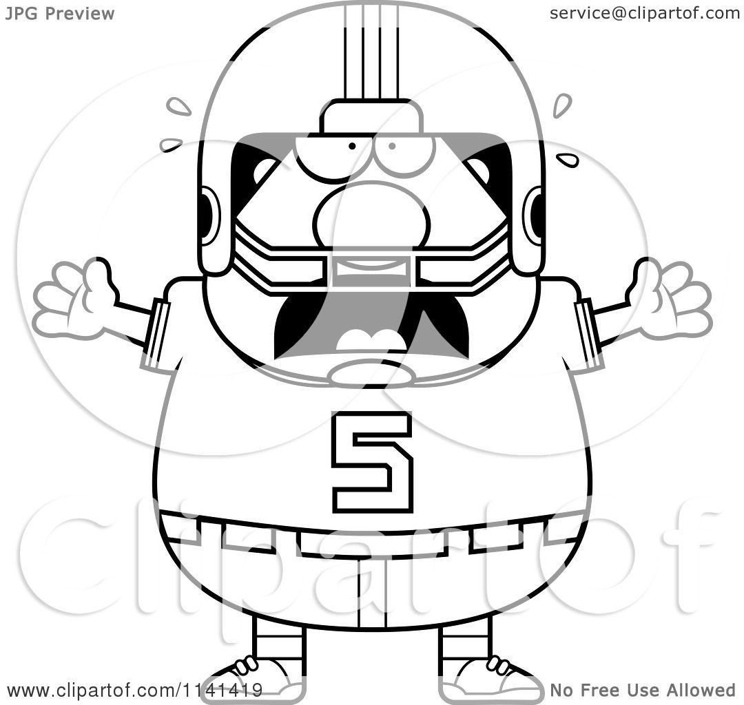 cartoon clipart of a black and white stressed chubby football