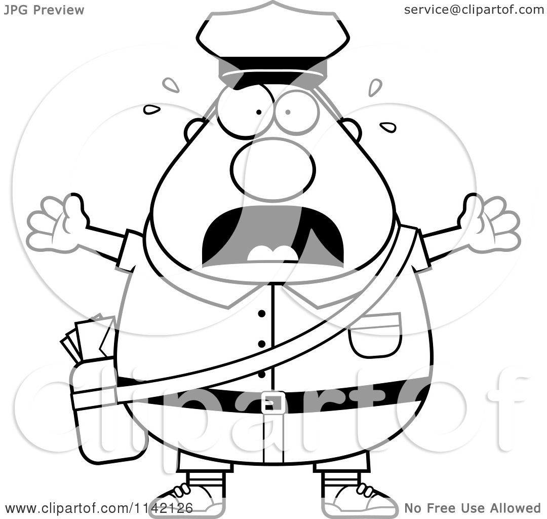 cartoon clipart of a black and white stressed chubby mail man