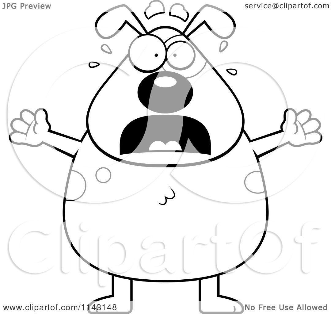Cartoon Clipart Of A Black And White Stressed Dog - Vector ...
