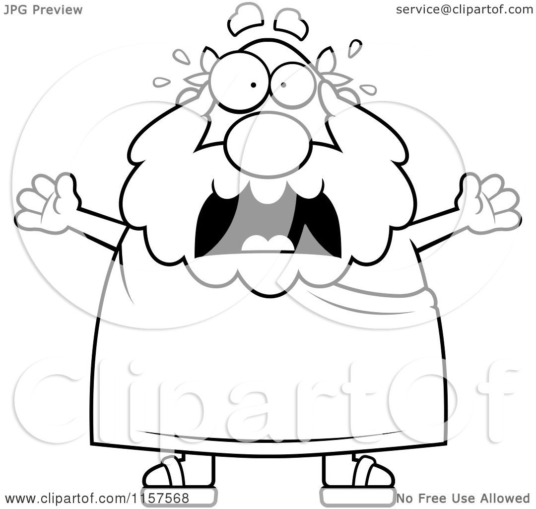 Cartoon Clipart Of A Black And White Stressed Old Greek Man