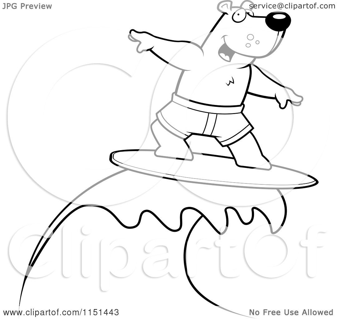 Cartoon Clipart Of A Black And White Surfing Bear Riding a Wave ...