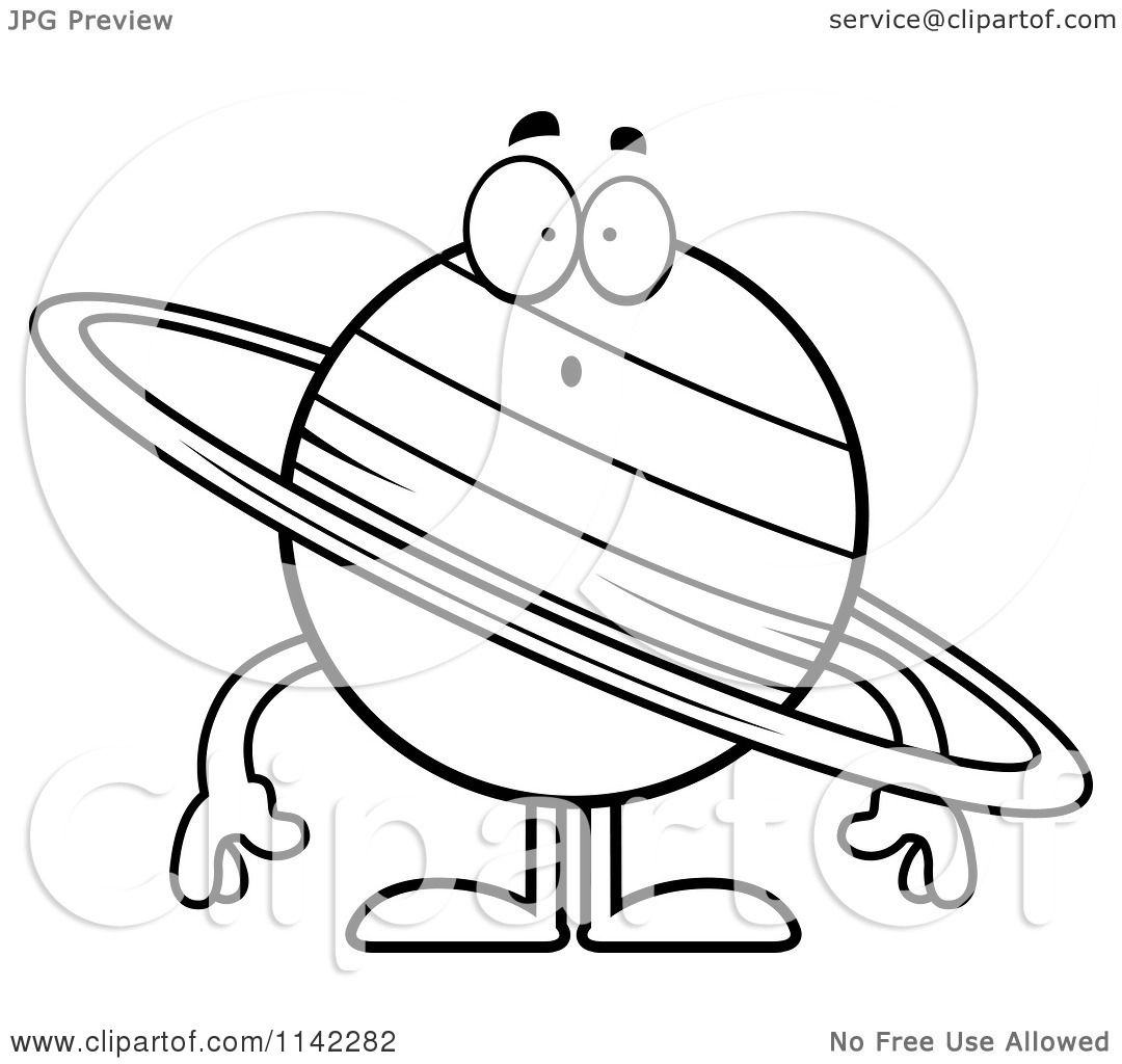 cartoon clipart of a black and white surprised planet saturn