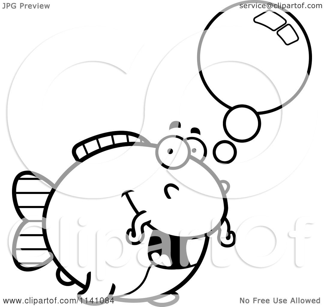 Cartoon Clipart Of A Black And White Talking Chubby Catfish