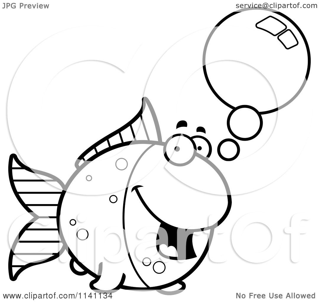 Cartoon Clipart Of A Black And White Talking Goldfish ...