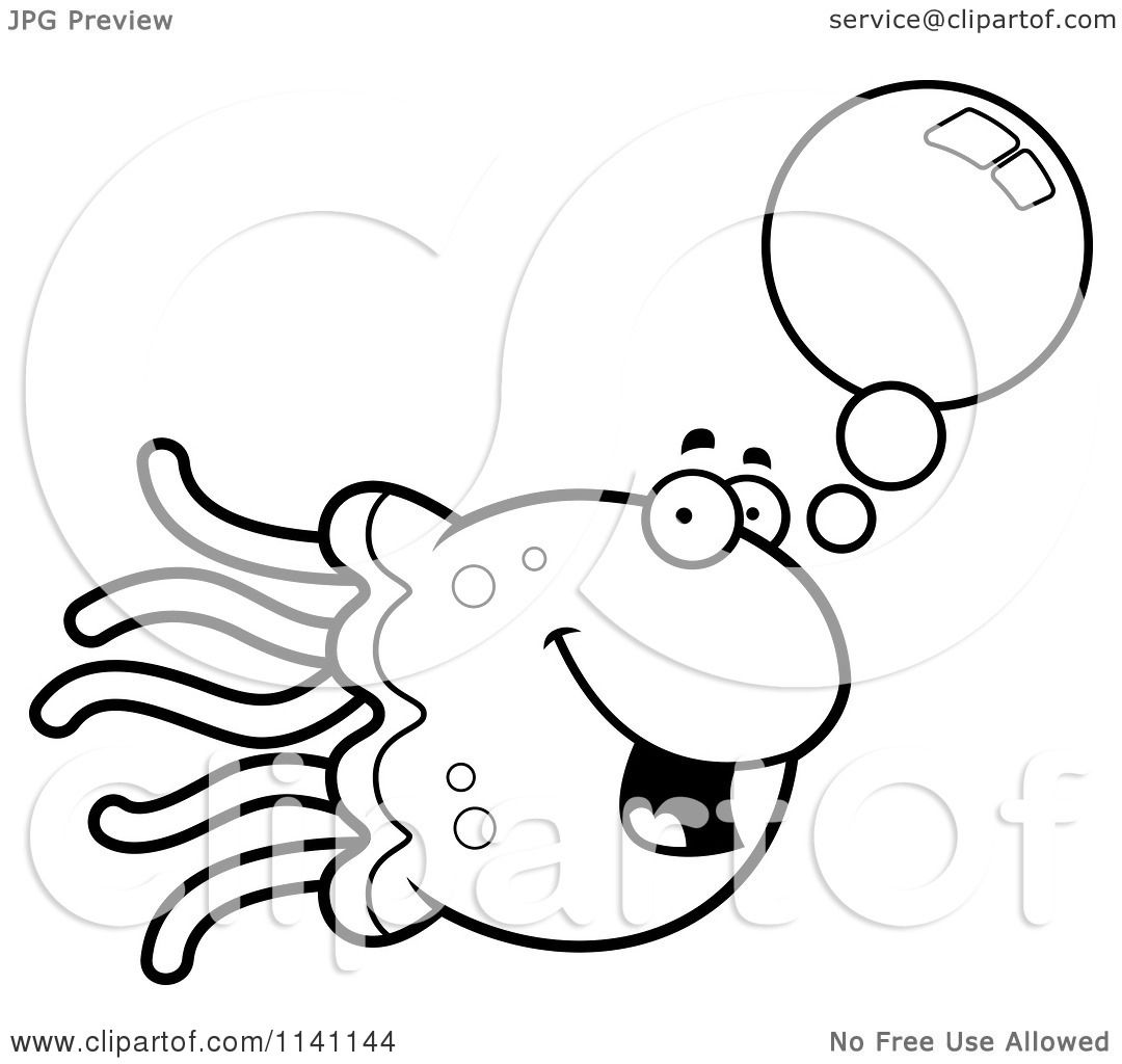 Cartoon Clipart Of A Black And White Talking Jellyfish ...