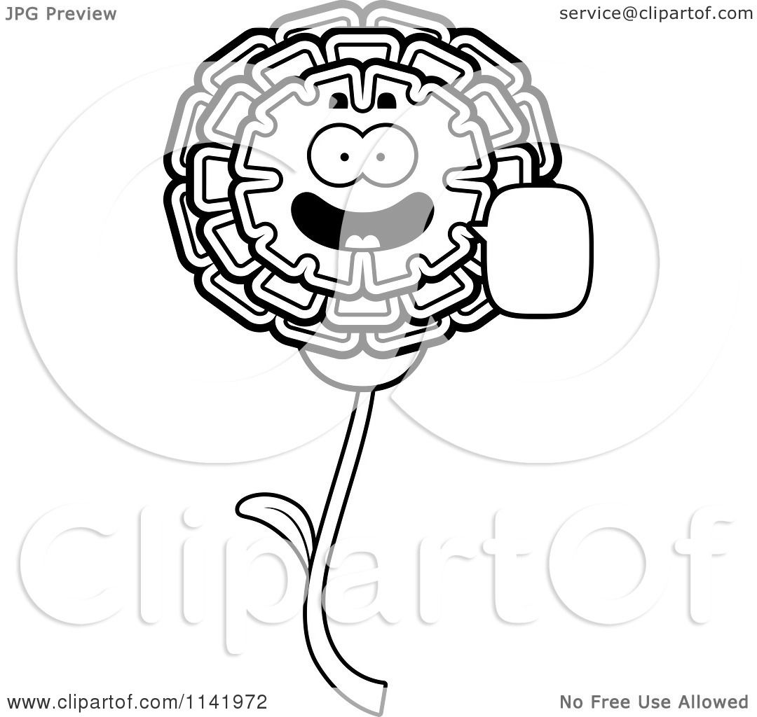Cartoon Clipart Of A Black And White Talking Marigold Flower Character