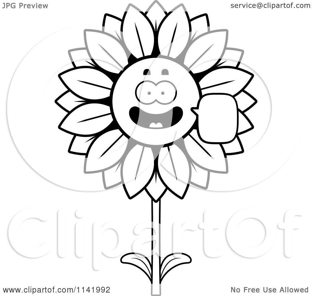 Cartoon Clipart Of A Black And White Talking Sunflower Character ... for Clipart Sunflower Black And White  83fiz