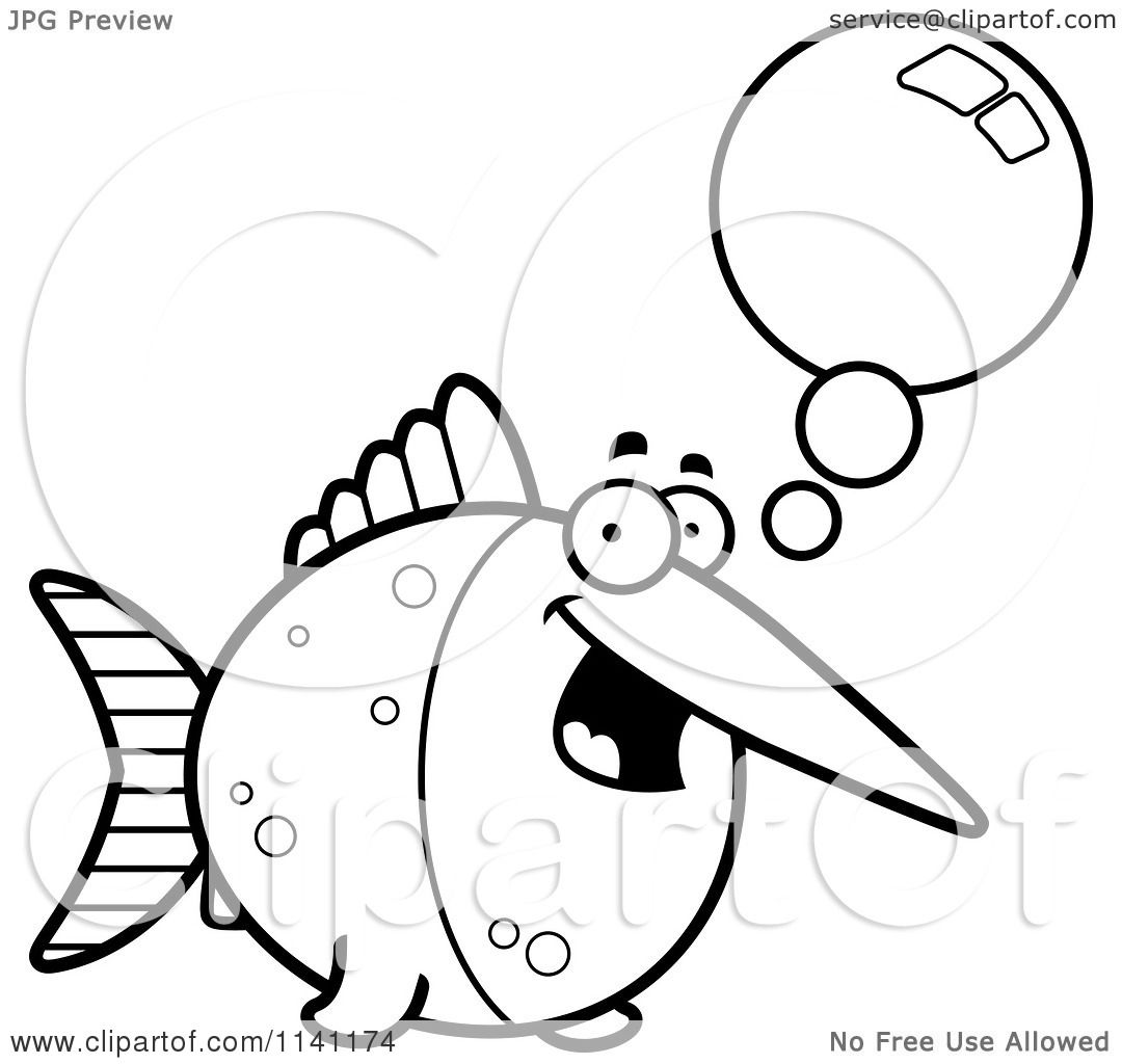 Cartoon Clipart Of A Black And White Talking Swordfish - Vector ...