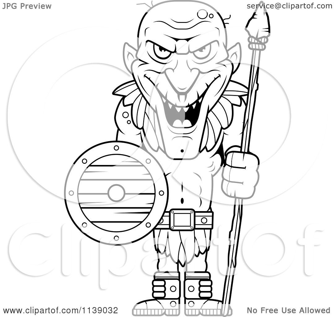 cartoon clipart of a black and white tall goblin guard with a