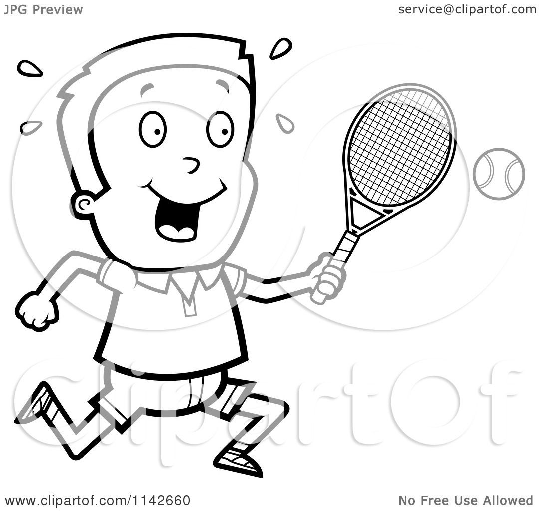 cartoon clipart of a black and white tennis boy swinging